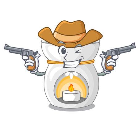 Cowboy aroma lamp in a cartoon versions vector illustration