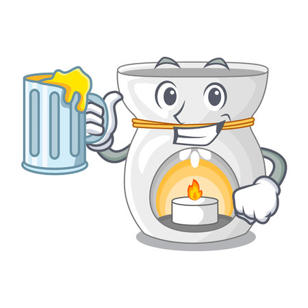 With juice aroma lamp with burning candle mascot vector illustration Illusztráció