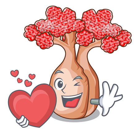 With heart plateau on of mascot bottle trees vector illustrtion