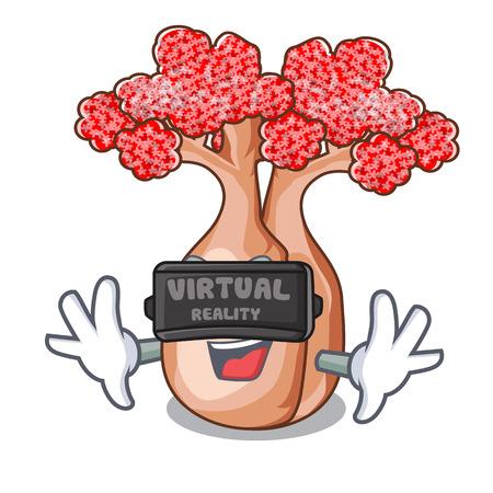 Virtual reality plateau on of mascot bottle trees vector illustrtion