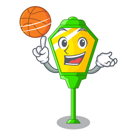 With basketball lamps post collection in a cartoon vector illustration