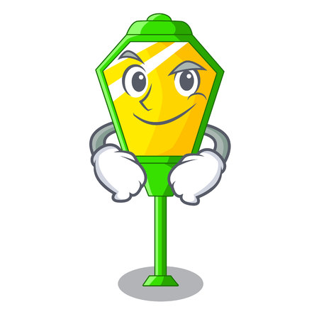 Smirking lamp post in isolated on mascot vector illustration 일러스트