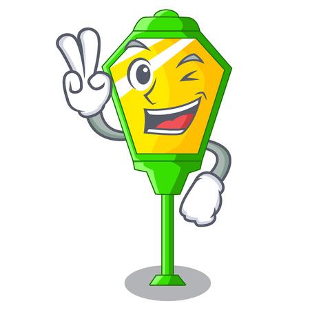 Two finger lamp post in isolated on mascot vector illustration Illustration