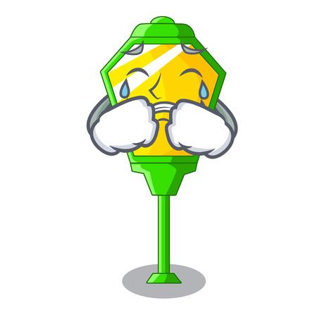 Crying street lamp post in shape cartoon vector illustration