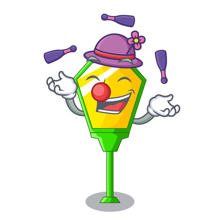 Juggling character a lamp in post style vector illustration Stock Photo