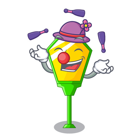 Juggling character a lamp in post style vector illustration Illustration