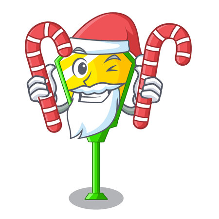 Santa with candy character a lamp in post style vector illustration Illustration