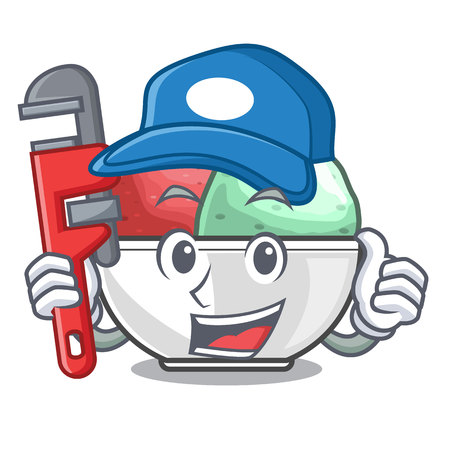 Plumber sorbet ice with black bowls character vector illustration Illustration