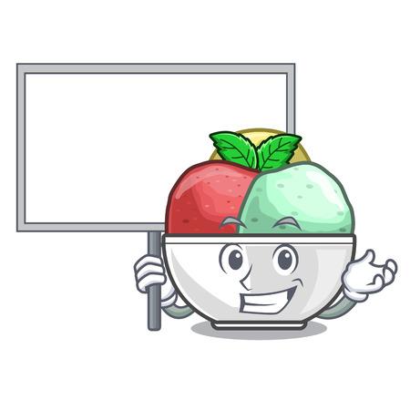 Bring board sorbet ice cream in cup cartoon vector illustration Illustration