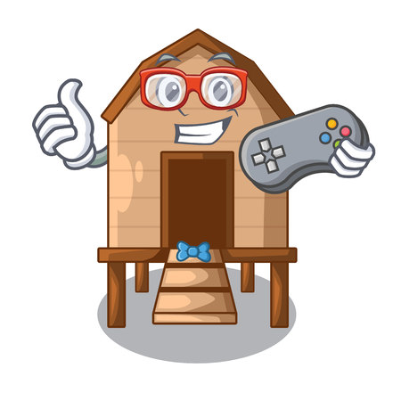 Gamer chicken in a on charater coop vector illustration Vectores