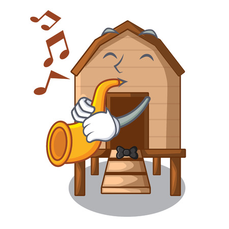 With trumpet chicken in a on charater coop vector illustration
