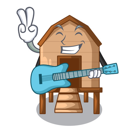 With guitar chicken in a on charater coop vector illustration