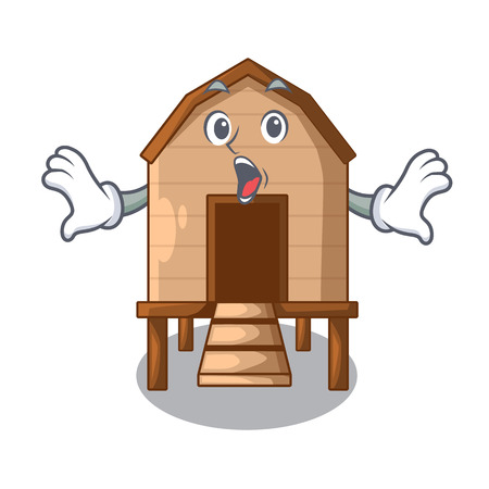 Surprised chicken in a on charater coop vector illustration