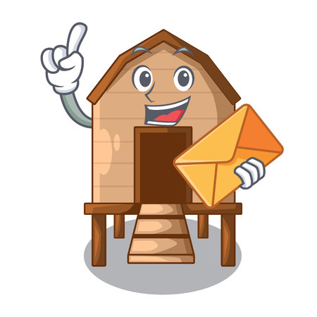 With envelope chiken coop isolated on a mascot vector illustration