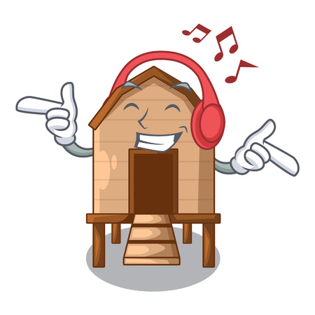 Listening music chicken in a on charater coop vector illustration