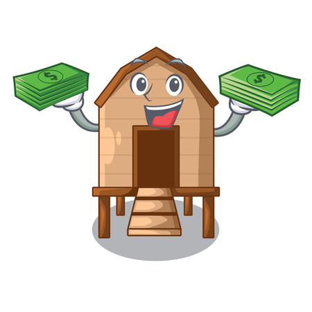 With money chicken in a on charater coop vector illustration Vectores