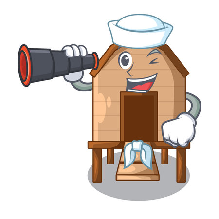 Sailor with binocular chicken in a on charater coop vector illustration