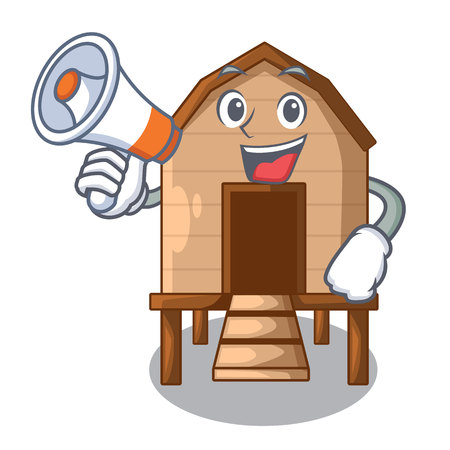 With megaphone cartoon chicken the in coop shape vector illustration