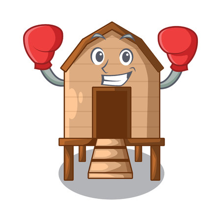 Boxing cartoon chicken the in coop shape vector illustration