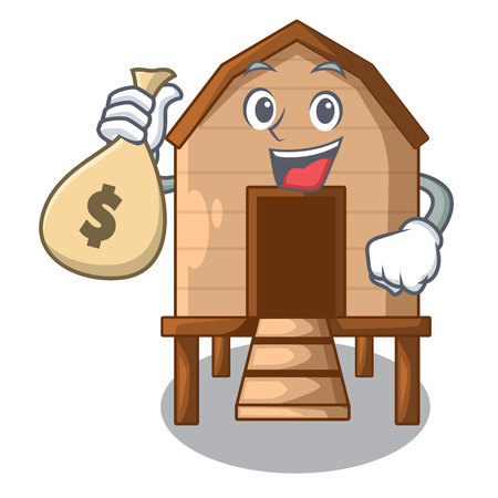 With money bag cartoon chicken the in coop shape vector illustration