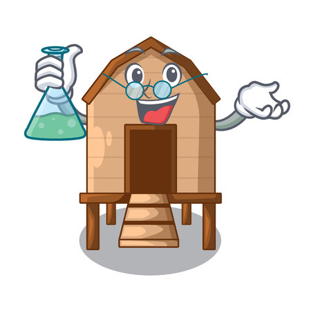 Professor chiken coop isolated on a mascot vector illustration