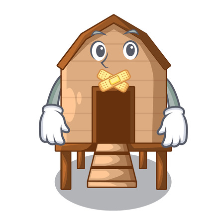 Silent chicken in a wooden cartoon coop vector illustration