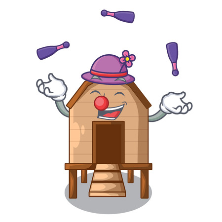 Juggling chicken in a wooden cartoon coop vector illustration