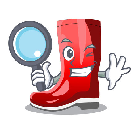 Detective single of boots isolated on mascot vector illustration