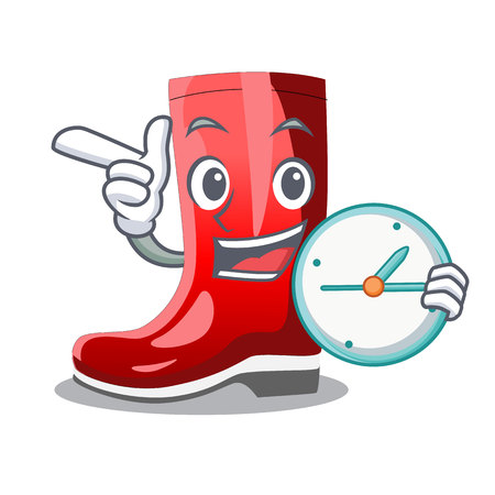 With clock single of boots isolated on mascot vector illustration Ilustração