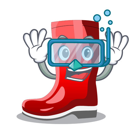 Diving single of boots isolated on mascot vector illustration