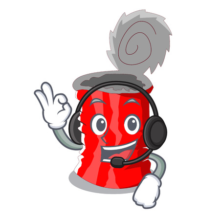 With headphone tincan ribbed metal character a canned vector illustration Illustration