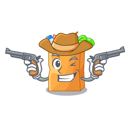 Cowboy food bag package of shape cartoon vector illustration