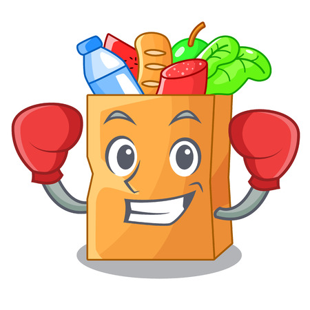 Boxing food bag package of shape cartoon vector illustration 向量圖像