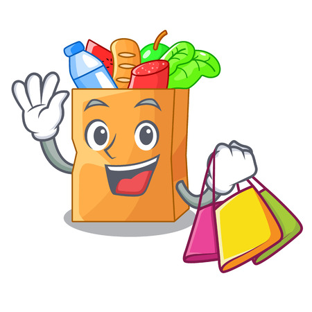 Shopping food pouch bags isolated on mascot vector illustration
