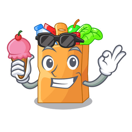 With ice cream food pouch bags isolated on mascot vector illustration Vectores