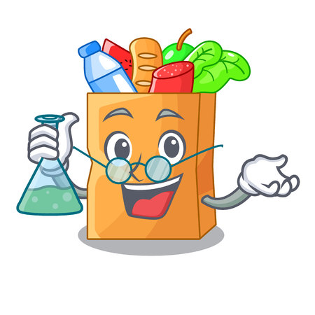 Professor food pouch bags isolated on mascot vector illustration