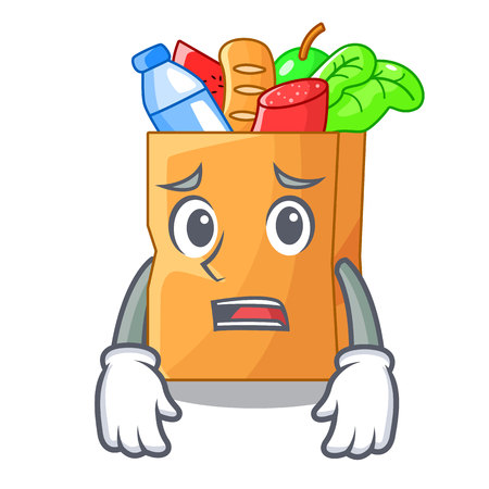 Afraid realistic food in a bag character vector illustration