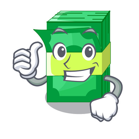 Thumbs up stack of dollars isolated on mascot vector illustration