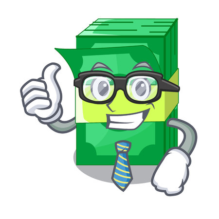 Businessman stack of dollars isolated on mascot vector illustration