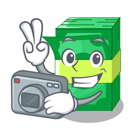 Photographer stacks money dollar on bank character vector illustration