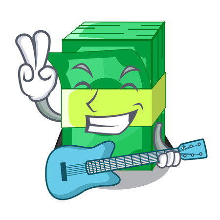 With guitar stacks money dollar on bank character vector illustration