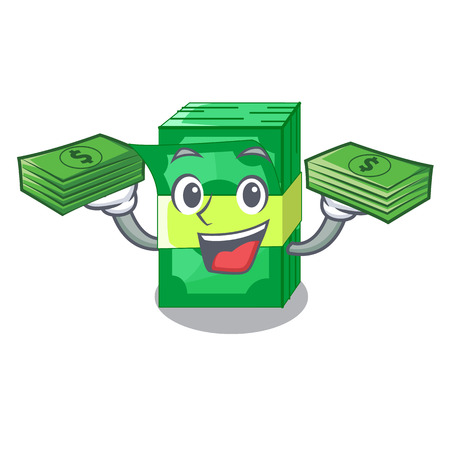 With money stacks money dollar on bank character vector illustration