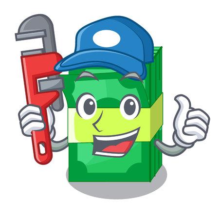 Plumber set money in packing bundles cartoon vector illustration