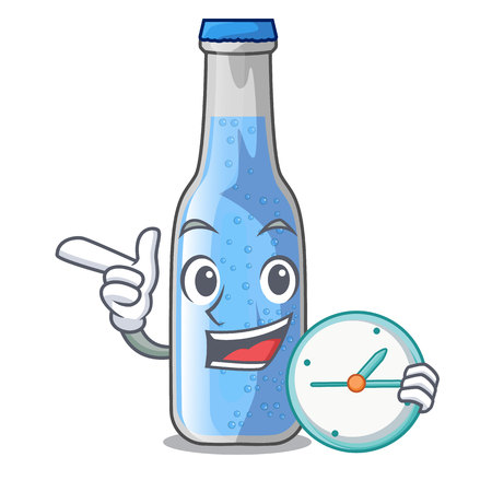 With clock soda water bottle near cartoon table vector illustration