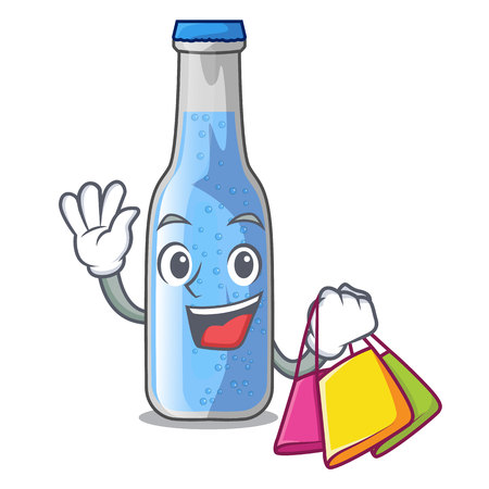 Shopping soda water bottle near cartoon table vector illustration Ilustração
