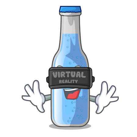 Virtual reality glass of soda water on character vector illustration