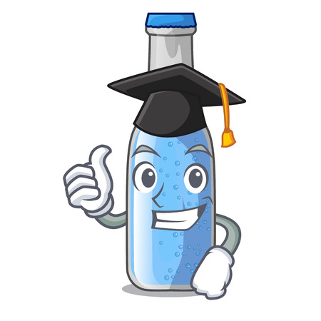 Graduation soda water bottle near cartoon table vector illustration