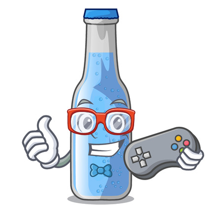 Gamer glass of soda water on character vector illustration