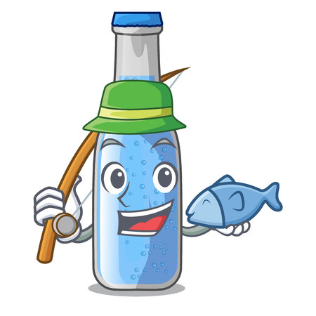 Fishing glass of soda water on character vector illustration