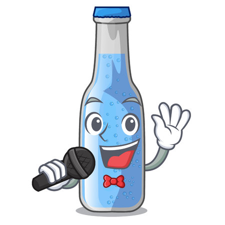 Singing glass of soda water on character vector illustration